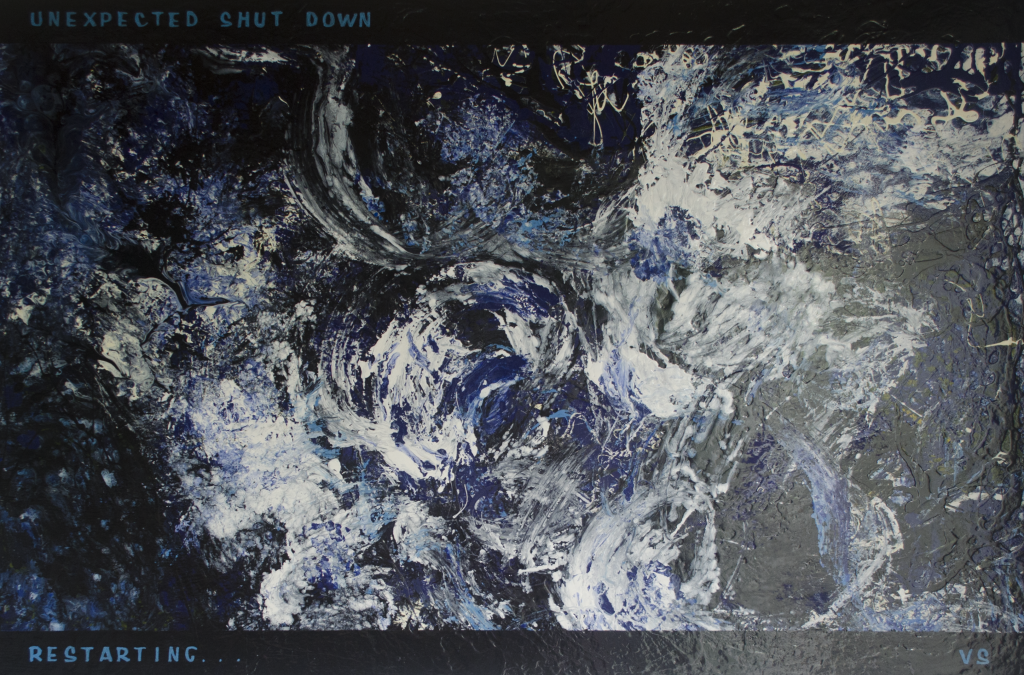 "abstract schilderij ""Unexpected shut down ... Restarting ..."" - serie ""Life App"""