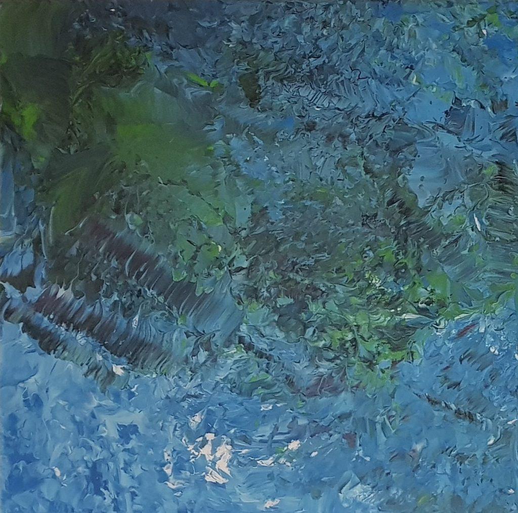"""abstract schilderij (tweeluik) """"Water: dubbel geweldig!""""- serie """"In de massa geweldig"""" (links)"""